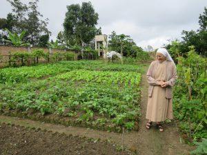 Moramanga Ankazobe  - Soeur Supérieure Gemma dans le jardin potager