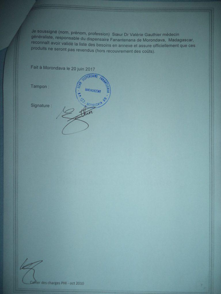Signature et cachet du cahier des charges